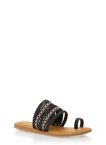 Embroidered Strappy Toe Ring Slide Sandals,BLACK BURNISH,large