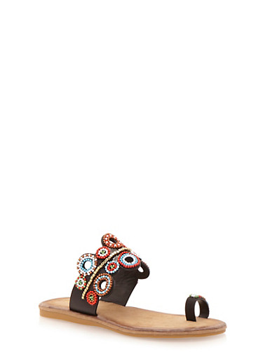 Slip On Toe Ring Sandals with Beaded Details,BLACK BURNISH,large