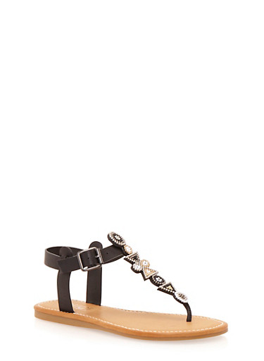Aztec Beaded Thong Sandals,BLACK,large