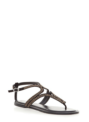 Rhinestone Embellished Diamond Cutout T-Strap Sandals With Buckle,BLACK,large