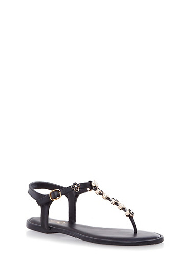 T-Strap Sandals with Metallic Shamrock Accents,BLACK,large