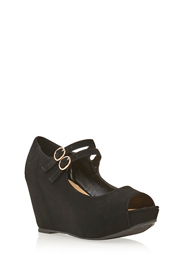 Wedge Peep Toe Heels,BLACK,large