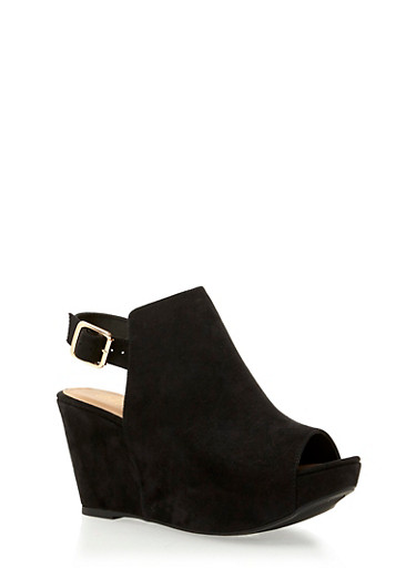 Slingback Platform Wedge with Open Toe,BLACK F/S,large