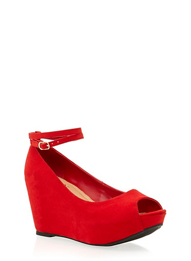 Platform Wedges with Open Toes,RED F/S,large
