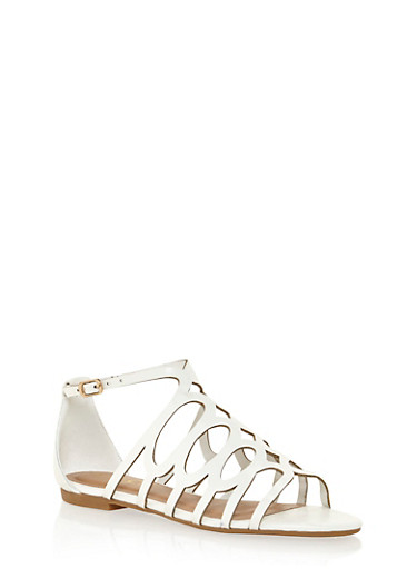 Lasercut Sandals with Side Buckle,WHITE BURNISH,large