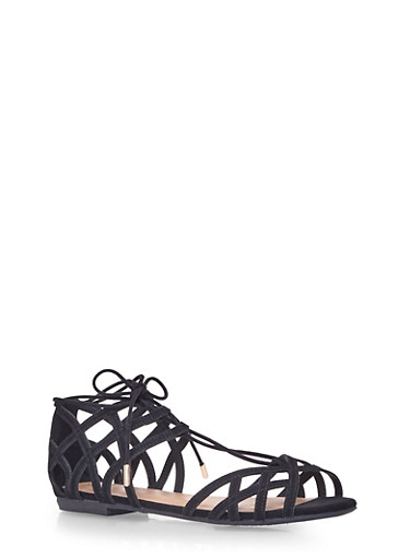 Open Toe Cage Sandals with Ankle Ties,BLACK,large