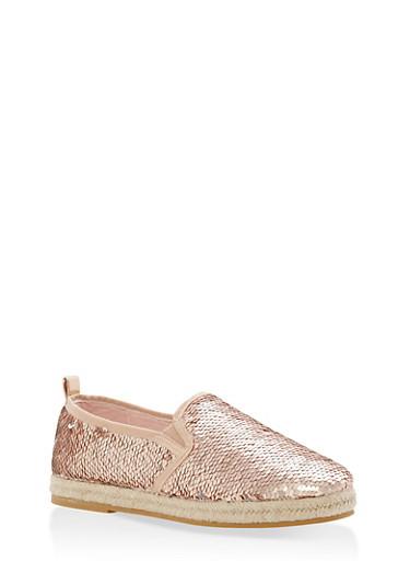 Reversible Sequin Espadrille Slip On Flats,ROSE GOLD SEQUIN,large