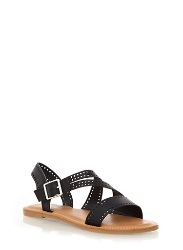 Strappy Flat Sandals with Perforated Accents,BLACK,large