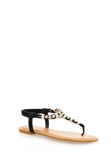 Metallic Beaded Trim T-Strap Slingback Thong Sandals,BLACK,large