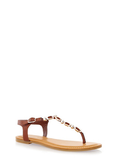 T-Strap Flat Sandals with Deco Metallic Accents,CHESTNUT,large