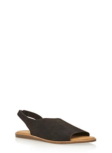 Peep Toe D Orsay Flats,BLACK F/S,large