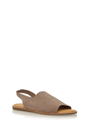 Peep Toe D'Orsay Flats,TAUPE F/S,large