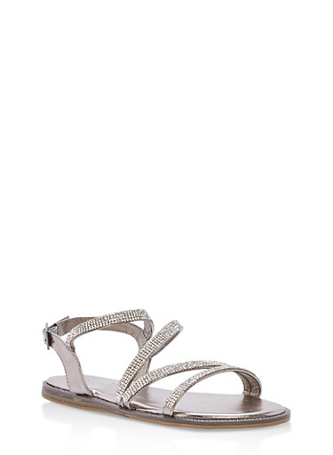 Strappy Rhinestone Flat Sandals at Rainbow Shops in Jacksonville, FL | Tuggl
