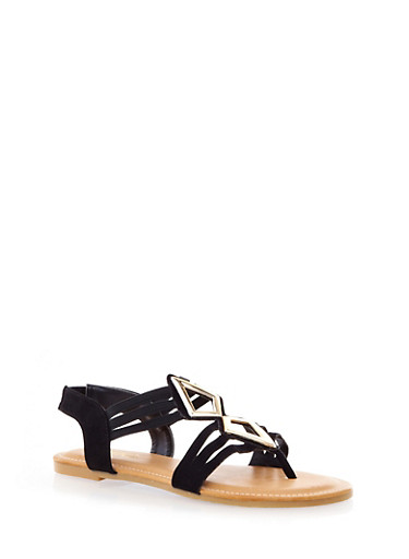 Strappy Glam Gladiator Sandals,BLACK,large