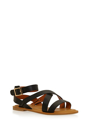 Faux Leather Strappy Sandals with Ankle Straps,BLACK,large