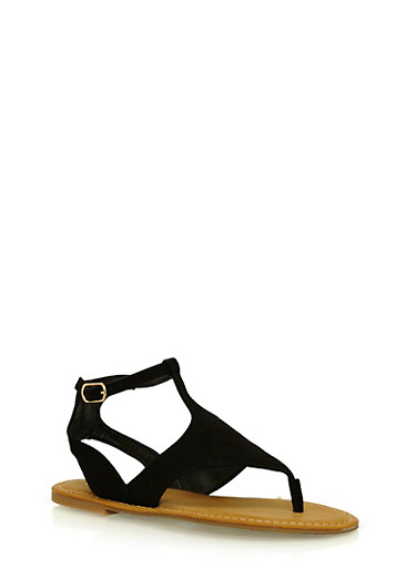 Faux Suede Thong Sandals with Buckle,BLACK,large