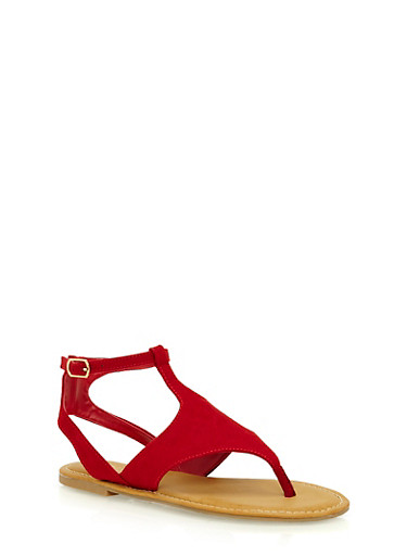 Faux Suede Thong Sandals with Buckle,RED,large