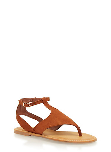 Faux Suede Thong Sandals with Buckle,CHESTNUT,large