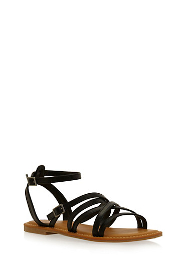 Strappy Sandals with Ankle Straps,BLACK,large