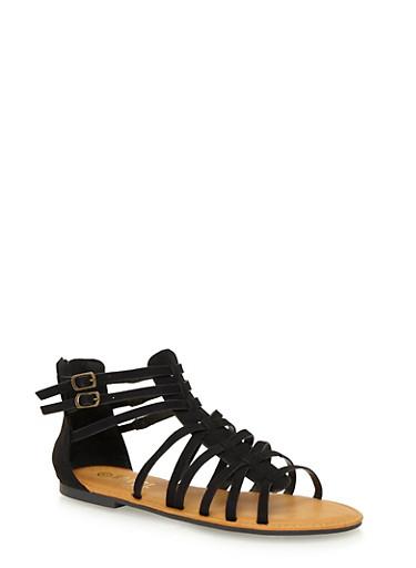 Ankle Gladiator Sandals,BLACK F/S,large