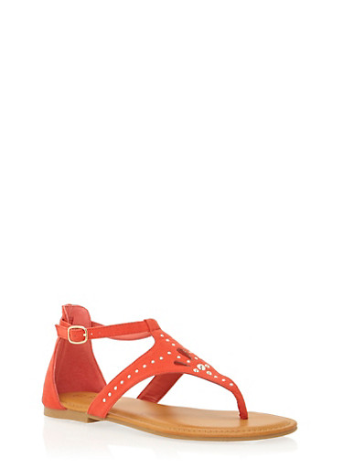 Thong Sandals with Studded Cutouts,RED,large