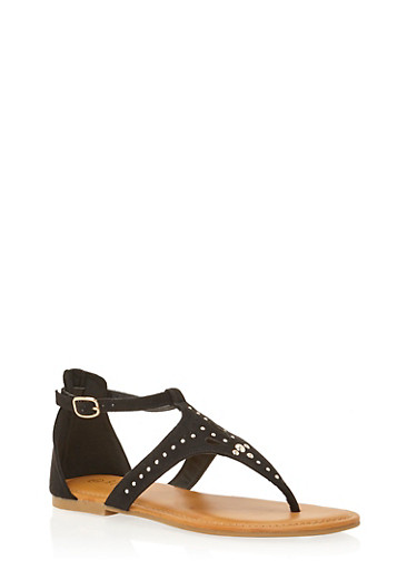 Thong Sandals with Studded Cutouts,BLACK SUEDE,large