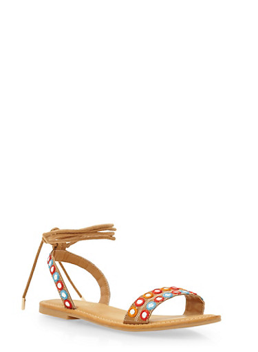 Embroidered Sandals with Ankle Ties,TAN F/S,large