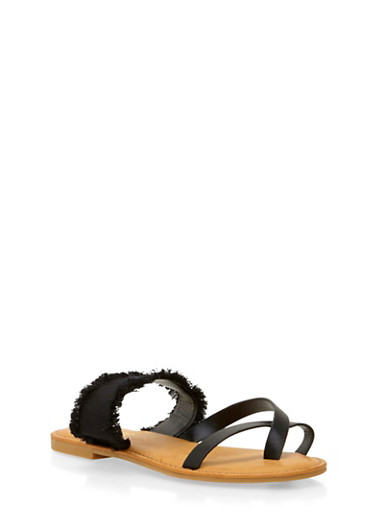 Sandals with Frayed Strap,BLACK,large