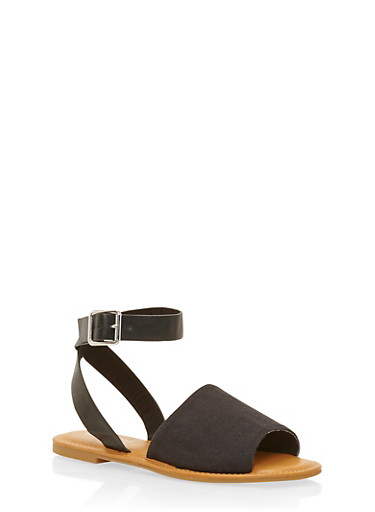 Sandals with Wrap Around Ankle Straps,BLACK CANVAS,large