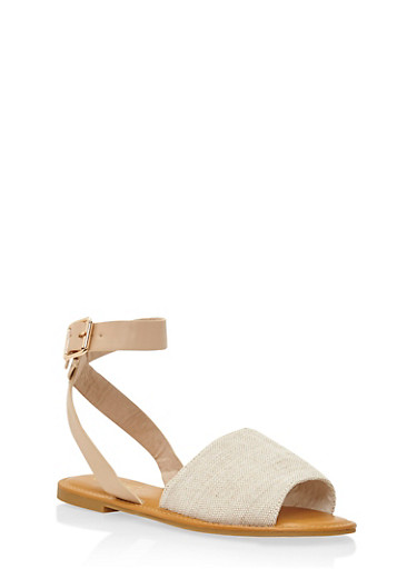 Sandals with Wrap Around Ankle Straps,NATURAL LINEN,large