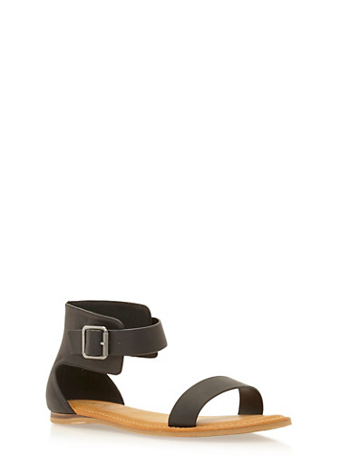 Ankle Strap Sandals with Buckle,BLACK,large