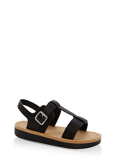 Double Band T Strap Platform Sandals,BLACK CRP,large