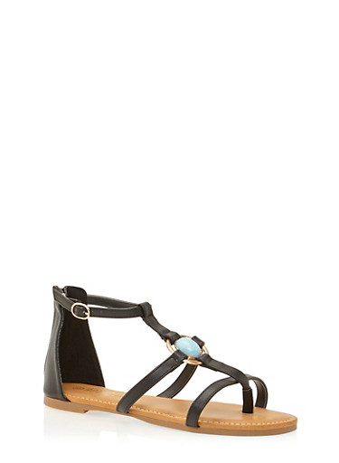 Ankle Gladiator Sandals with Aqua Stone,BLACK,large