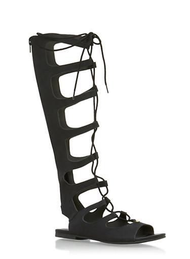 Tall Gladiator Sandals,BLACK,large