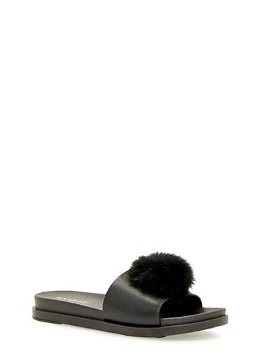 Slide Sandals with Faux Fur Pom Pom,BLACK,large