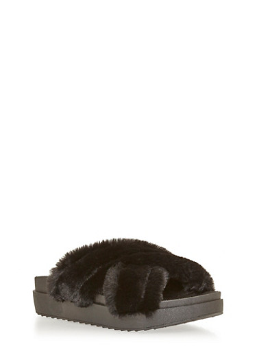 Faux Fur Criss Cross Platform Slides,BLACK,large