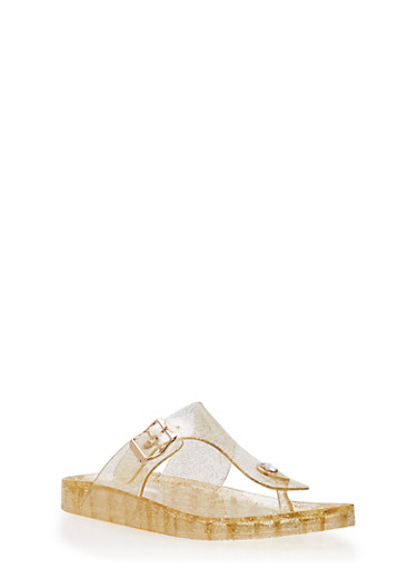 Glitter Thong Jelly Sandals,GOLD,large