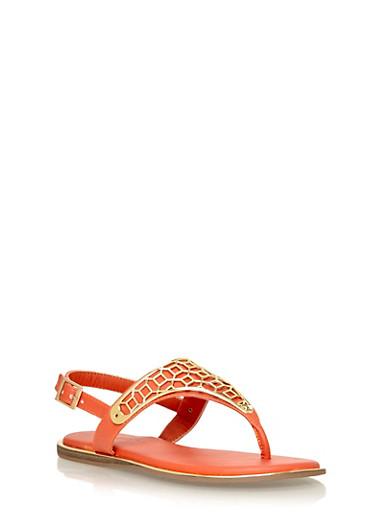Slingback Metal Embellished Thong Sandals,ORANGE,large