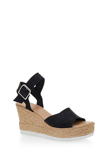 Leather Espadrille Wedge Sandals with Buckled Ankle Strap,BLACK SUEDE,large