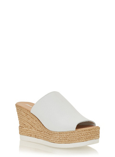 Leather Wedge Slide Sandals,WHITE LEATHER,large
