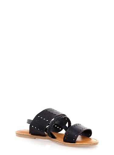 Laser Cut Slingback Sandals,BLACK SOLID,large