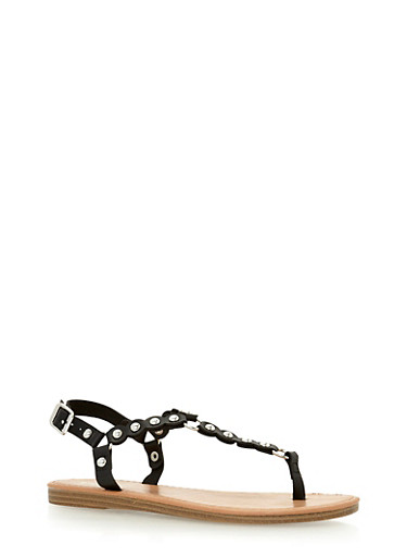 Studded Faux Leather Thong Sandals,BLACK,large
