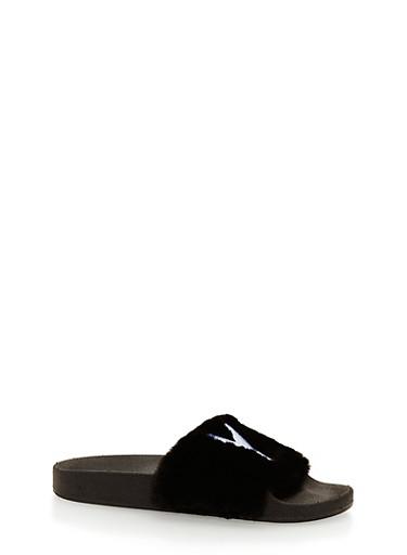 Faux Fur NY Slides,BLACK,large