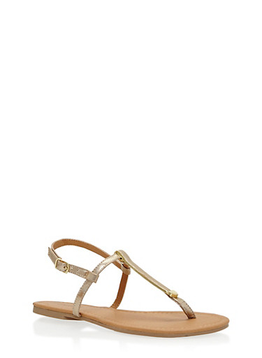 Faux Leather Metallic T Strap Sandals,GOLD,large