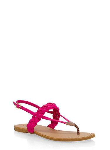 Braided Thong Sandals,FUCHSIA,large