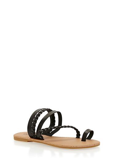 Braided Toe Ring Sandals,BLACK,large