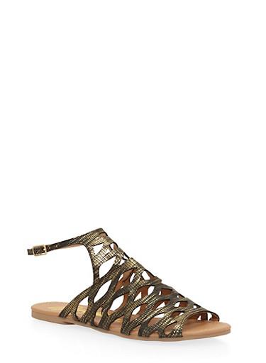 Open Toe Laser Cut Sandals,BLACK/GOLD SNAKE,large