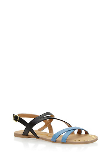 Criss Cross Strap Flat Sandals,BLACK,large