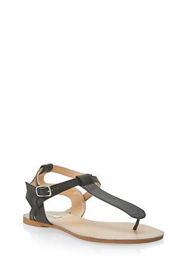 Faux Snake Skin Strap Thong Sandals,BLACK SNAKE,large