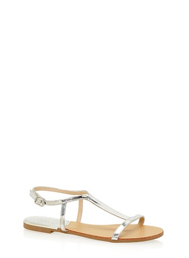 Patent Leather T Strap Sandals,SILVER,large